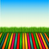 Vector wooden floor with grass, sky Stock Images