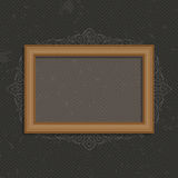 Vector wooden frame. Wooden frame on a black background. Vector photo art frame on vintage wall. Wooden Frame for Photo or Pictures, isolated on dark, stylized a stock illustration