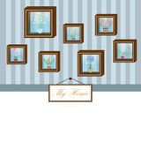 Vector of wooden frame with flowerpot on blue wall Stock Images
