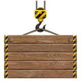 Vector Wooden Frame With Crane Hook Royalty Free Stock Photos