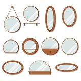 Vector wooden frames mirrors set of round shape royalty free illustration
