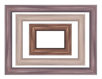 Vector wooden frames. Set wooden frames different shapes in brown colors Royalty Free Stock Image