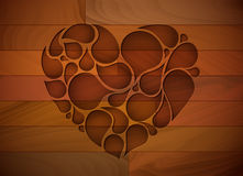 Vector wooden heart background Royalty Free Stock Photo