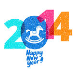 Vector wooden horse - symbol of new 2014 year Stock Images