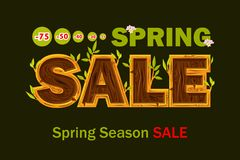 Vector Wooden letters forming the word SALE. Spring seasons sale offer, banner template. On Separate Layers. Wooden letters forming the word SALE. Spring seasons royalty free illustration