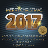 Vector wooden Merry Christmas 2017 greeting card. With set of letters, symbols and numbers. File contains graphic styles Stock Photo