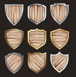 Vector wooden and metal shield protected steel icon sign set lay stock illustration
