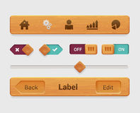 Vector wooden mobile app tablet interface element, button Stock Photography