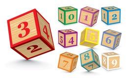 Vector wooden number blocks. Wooden number blocks -  illustration Stock Image