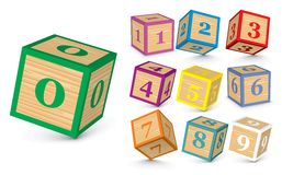 Vector wooden number blocks. Wooden number blocks -  illustration Stock Photography