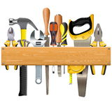 Vector Wooden Plank with Tools. Isolated on white background Stock Photos