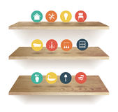 Vector wooden shelves isolated on white background stock illustration