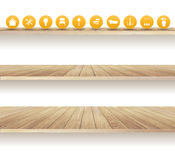 Vector wooden shelves isolated on white background Stock Image