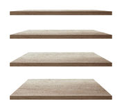 Vector wooden shelves on an isolated white stock illustration