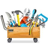Vector Wooden Toolbox Trolley with Tools. On white background Stock Image