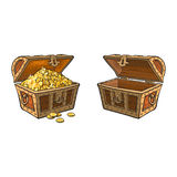 Vector wooden treasure chest set isolated Stock Images