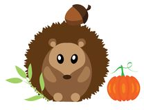 Vector Woodland Animal. Funny hedgehog. royalty free illustration