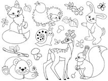 Vector Woodland Animals. Vector set of black and white cute wild animals in the forest. Set includes fox, deer, bear, hedgehog, squirrel, snail and rabbit Royalty Free Stock Photo