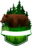 Vector woodland emblem with brown grizzly bear. In forest royalty free illustration