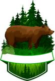 Vector woodland emblem with brown grizzly bear Royalty Free Stock Images