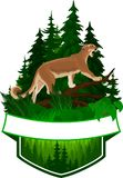 Vector woodland emblem with puma cougar. Puma concolor or mountain lion Royalty Free Stock Photo