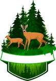 Vector woodland emblem with roe deers Stock Photography