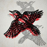 Vector woodpeckers in abstract composition. Stock Images