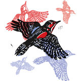 Vector woodpeckers in abstract composition Stock Image