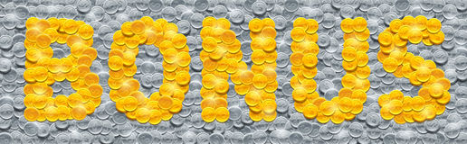 Vector word Bonus made of shiny golden coins on background filled with silver coins. Word Bonus made of shiny golden coins on background filled with silver coins Royalty Free Stock Photos