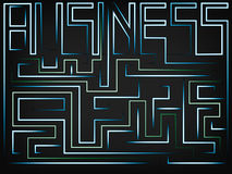 Vector of the word Business turning into a maze. With solution path in green mesh background Royalty Free Stock Photography