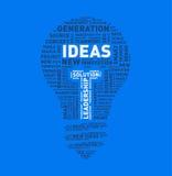 Vector word cloud of ideas light bulb Royalty Free Stock Photos