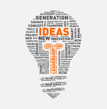 Vector word cloud of ideas light bulb. Vector illustration eps-10 Stock Image