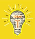 Vector word cloud of ideas light bulb Stock Image