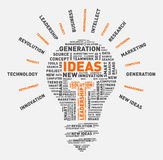 Vector word cloud of ideas light bulb. Vector illustration eps-10 Royalty Free Stock Image