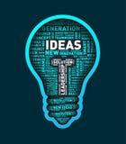 Vector word cloud of ideas light bulb. Vector illustration eps-10 Royalty Free Stock Photo