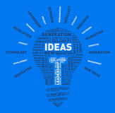 Vector word cloud of ideas light bulb Stock Images