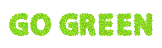 Vector word go green with leaves on a white Stock Image