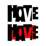 Vector of word HATE and LOVE Stock Images