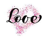 Vector word love calligraphy lettering on the background of pink confetti in form of heart. Happy Valentines day card Stock Photography