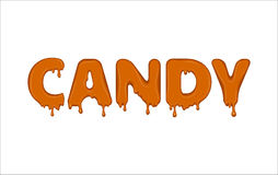 Vector word made of candy. Vector word made of melted and flowing candy. Letters with blots, drops, splashes and blobs. Glossy typeface. Text of orange liquid Stock Photography