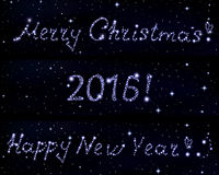 Vector words Merry Christmas!, 2016 and Happy New Year! written in stars on space starry background. Decorative vector background with greetings Stock Images