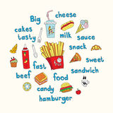 Vector work for flyers and menus. Fast food, french fries, hamburger, cheese, muffins, donuts, ice Stock Images