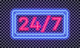 Vector work time 24 7 sign neon light style with colorful frame. On transparent background for shop, banner, promotion, cafe, restaurant, poster party. Bright Royalty Free Stock Photography