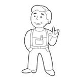 Vector worker man in cartoon style. Outline Stock Photos