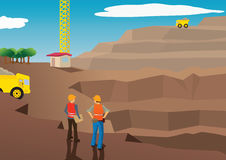 Vector of workers in a mining field Stock Photography