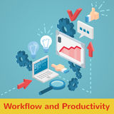 Vector workflow and productivity set. Flat minimal style infographic workflow strategy productivity set icons with laptop whiteboard cogs and arrows Royalty Free Stock Image