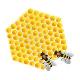 Vector working bees on honeycomb Stock Photography