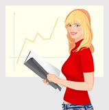 Vector Working Girl. Young business woman with folder in hand facing stand with an increasing schedule Royalty Free Stock Photos