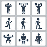 Vector workout, sport icons Royalty Free Stock Photos