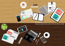 Vector workplace Business applications and communications with commercial paper, documents, files, pens, pencils, mobile phones, t. Ask, leveraging Notebook Royalty Free Stock Photos